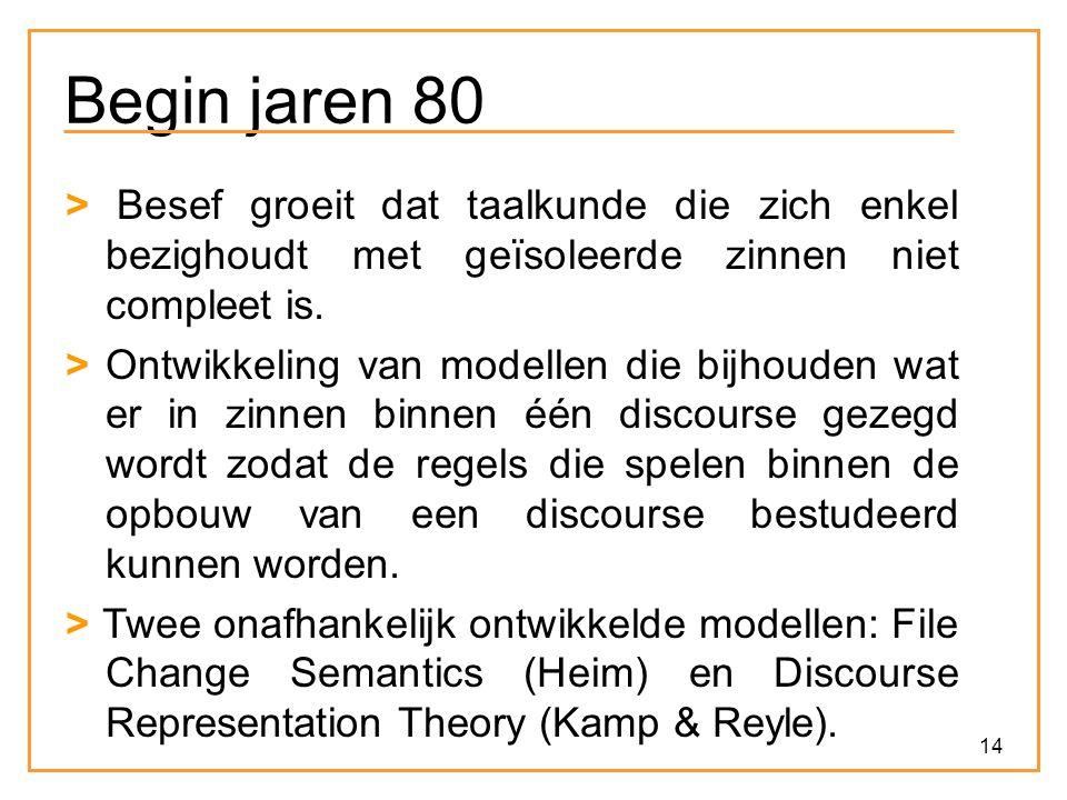 Begin jaren 80 > Besef groeit dat taalkunde die zich enkel bezighoudt met geïsoleerde zinnen niet compleet is.