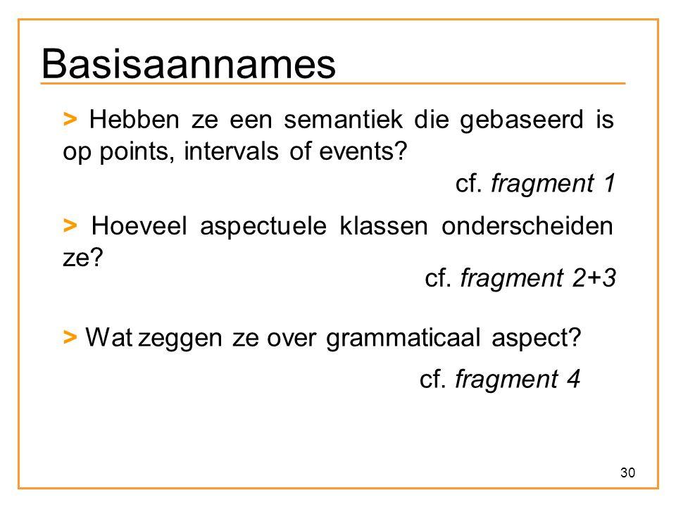 Basisaannames > Hebben ze een semantiek die gebaseerd is op points, intervals of events cf. fragment 1.