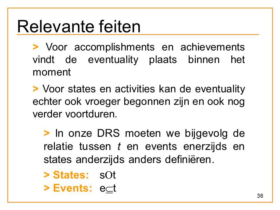 Relevante feiten > Voor accomplishments en achievements vindt de eventuality plaats binnen het moment.