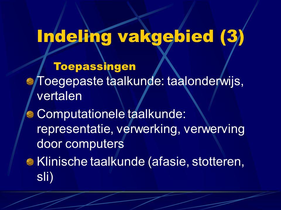 Indeling vakgebied (3) Toegepaste taalkunde: taalonderwijs, vertalen