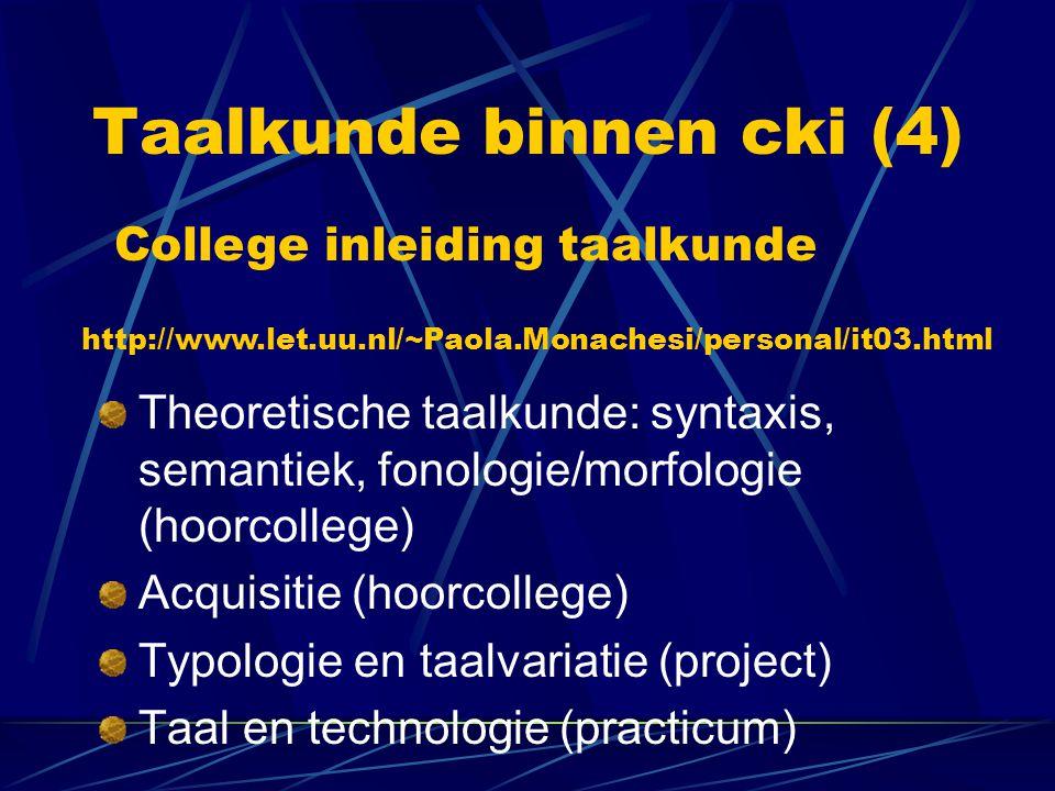 Taalkunde binnen cki (4)