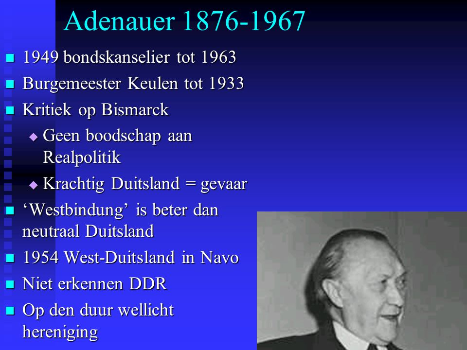 Adenauer 1876-1967 1949 bondskanselier tot 1963