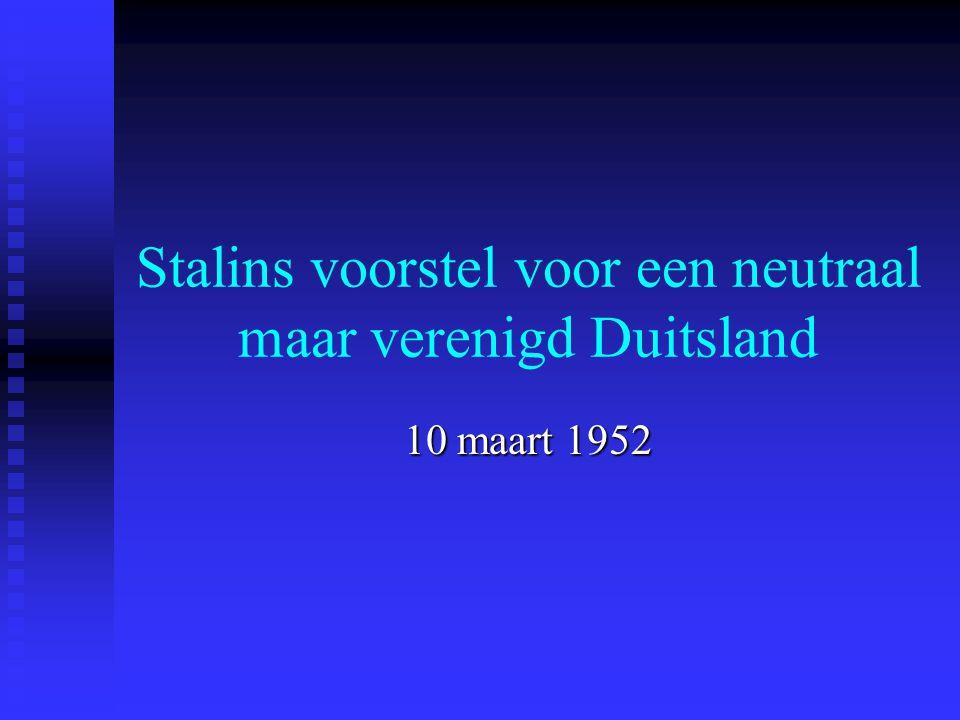 Stalins voorstel voor een neutraal maar verenigd Duitsland