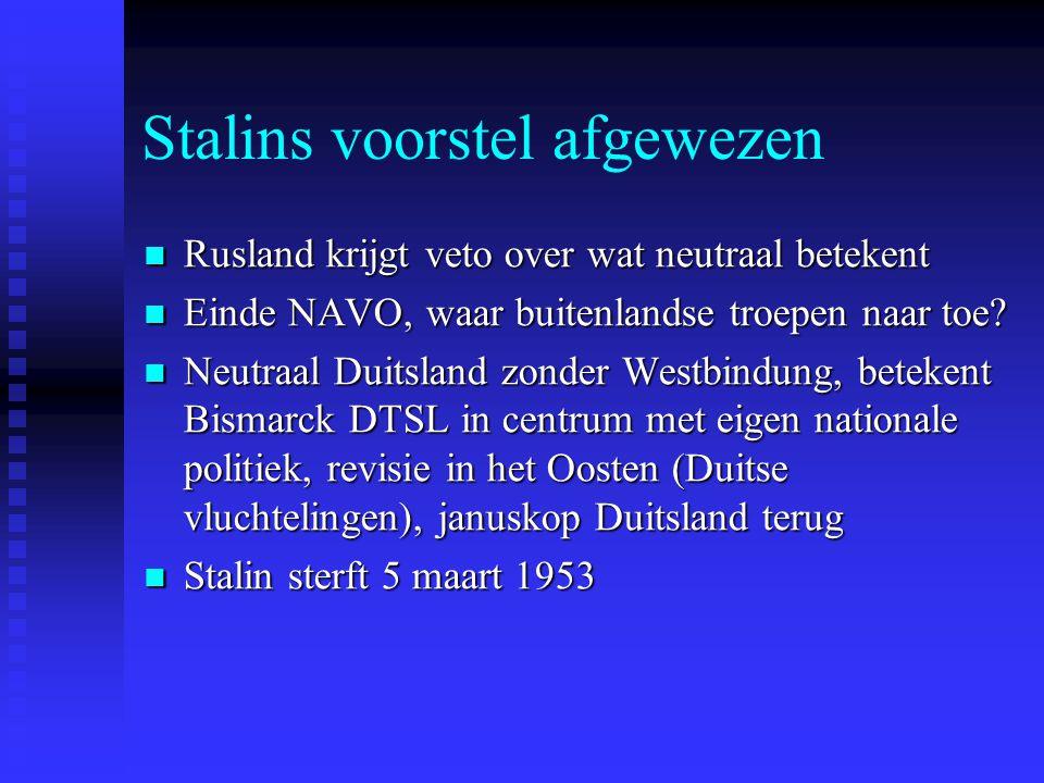 Stalins voorstel afgewezen