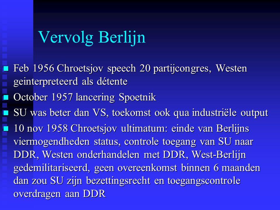Vervolg Berlijn Feb 1956 Chroetsjov speech 20 partijcongres, Westen geinterpreteerd als détente. October 1957 lancering Spoetnik.