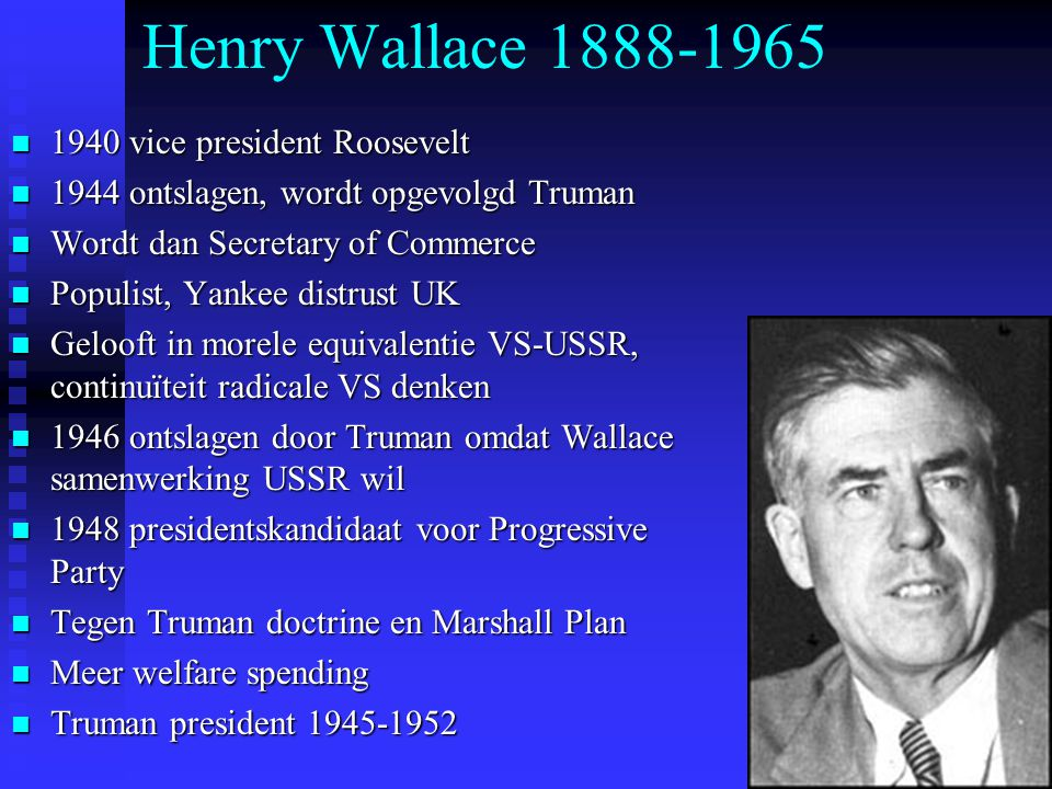 Henry Wallace 1888-1965 1940 vice president Roosevelt
