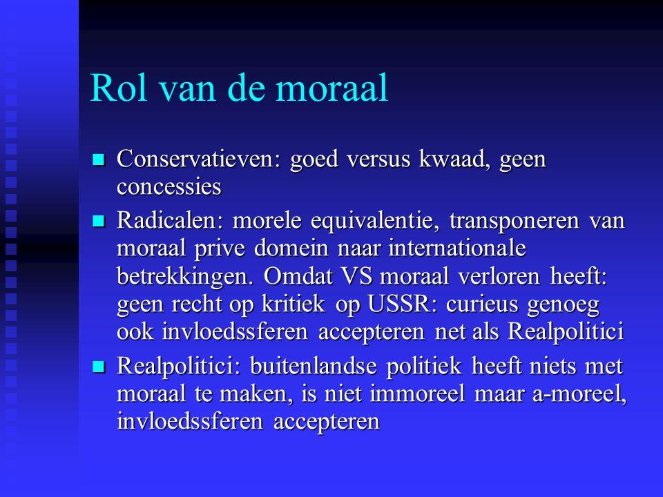 Rol van de moraal Conservatieven: goed versus kwaad, geen concessies