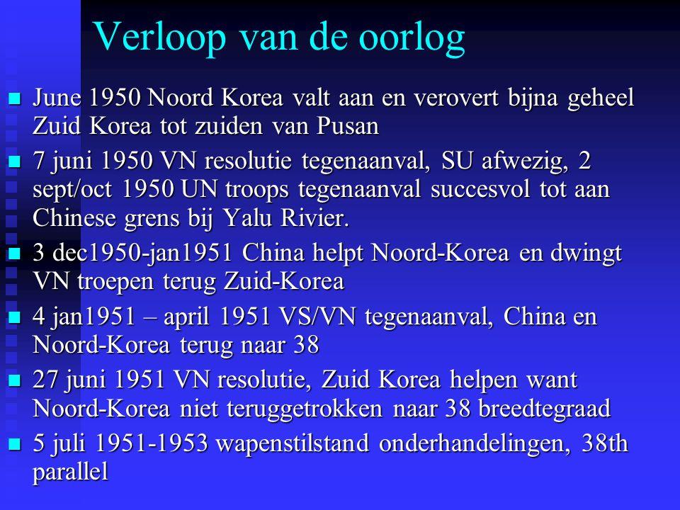 Verloop van de oorlog June 1950 Noord Korea valt aan en verovert bijna geheel Zuid Korea tot zuiden van Pusan.