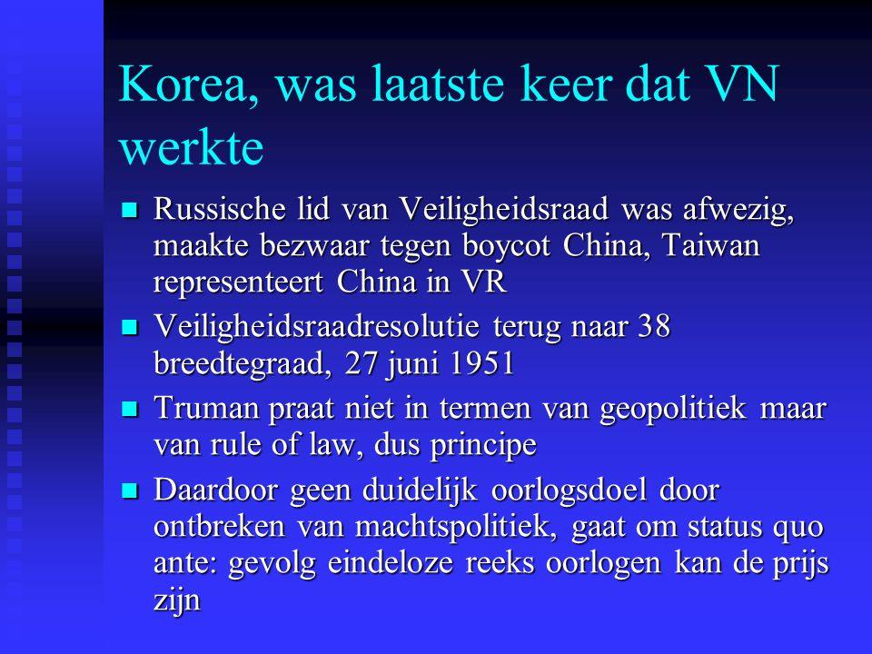 Korea, was laatste keer dat VN werkte