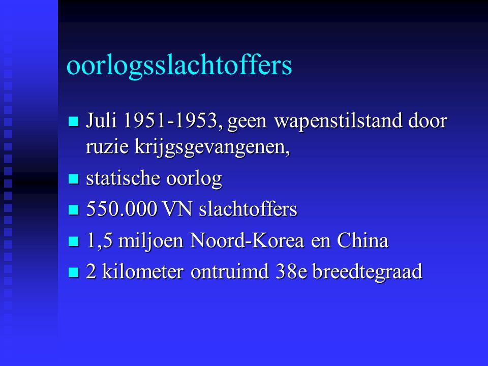 oorlogsslachtoffers Juli 1951-1953, geen wapenstilstand door ruzie krijgsgevangenen, statische oorlog.