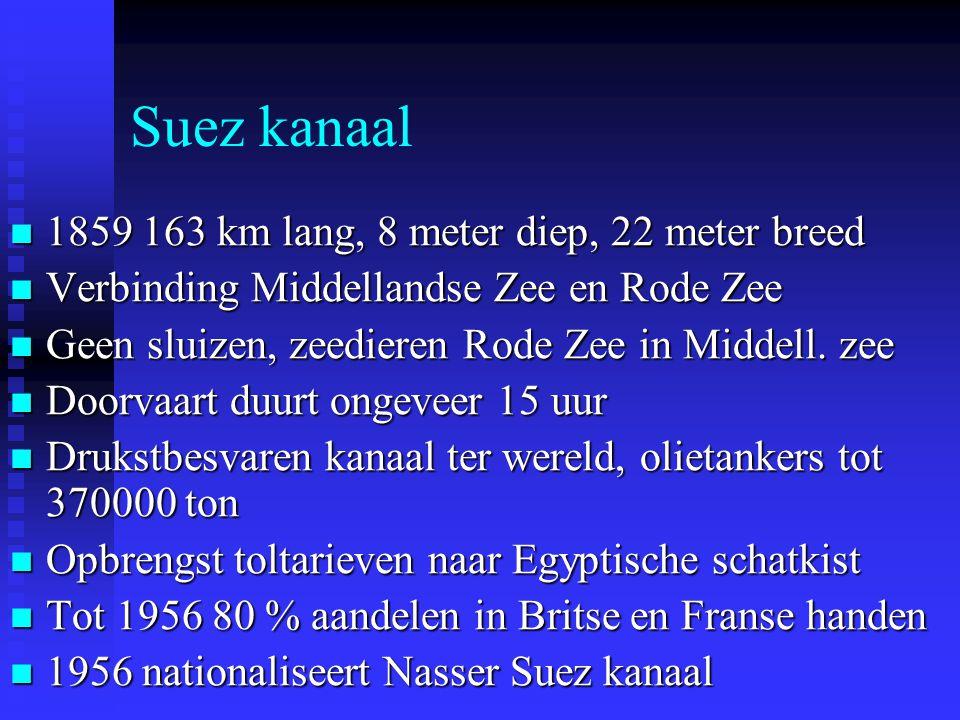 Suez kanaal 1859 163 km lang, 8 meter diep, 22 meter breed