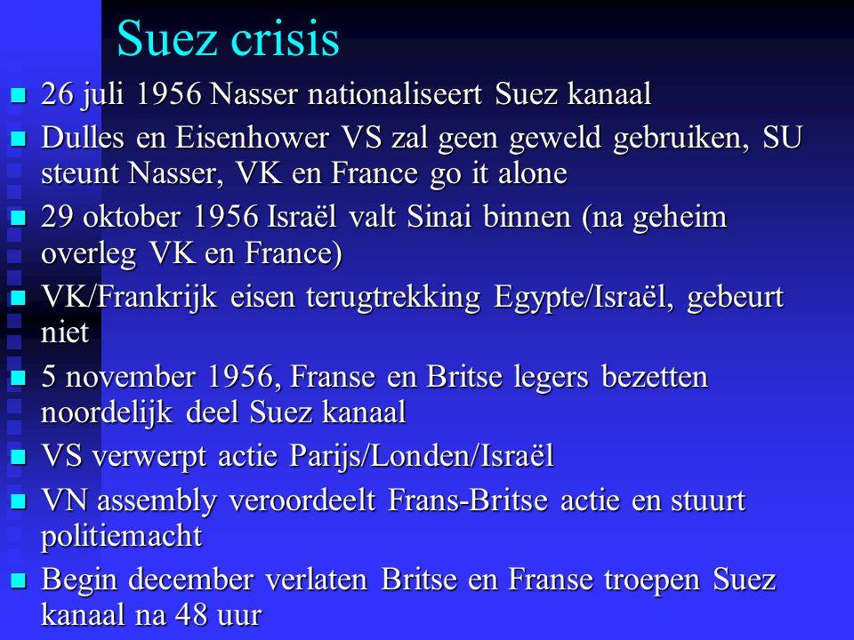 Suez crisis 26 juli 1956 Nasser nationaliseert Suez kanaal