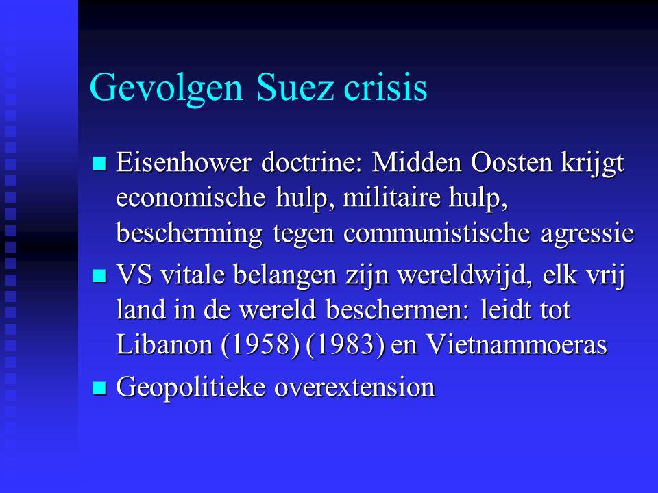 Gevolgen Suez crisis Eisenhower doctrine: Midden Oosten krijgt economische hulp, militaire hulp, bescherming tegen communistische agressie.