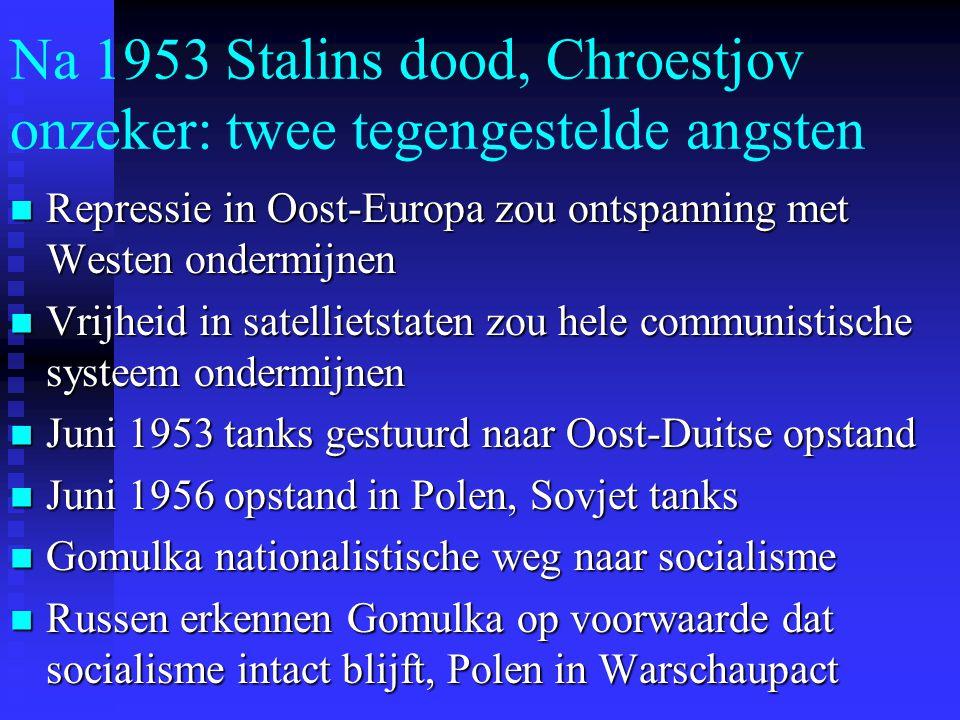 Na 1953 Stalins dood, Chroestjov onzeker: twee tegengestelde angsten