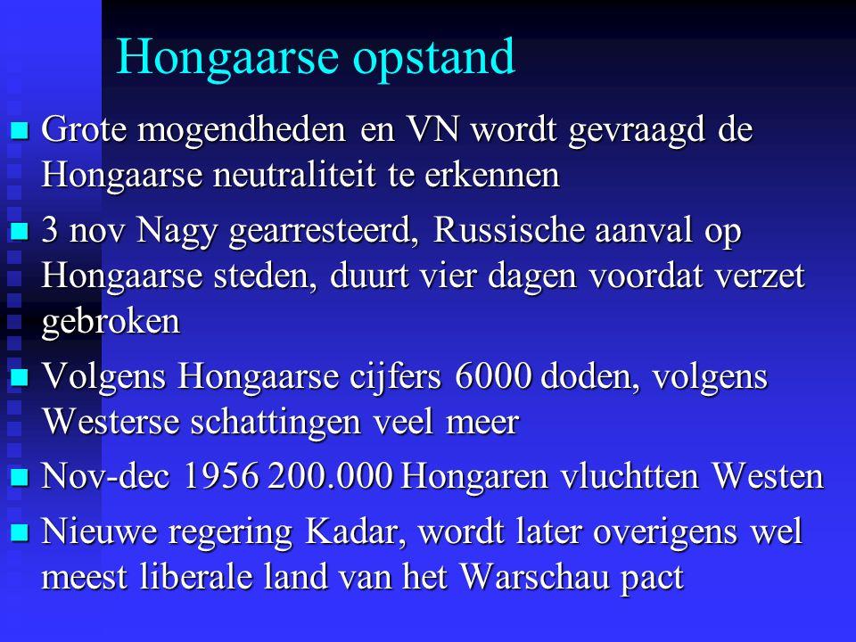 Hongaarse opstand Grote mogendheden en VN wordt gevraagd de Hongaarse neutraliteit te erkennen.