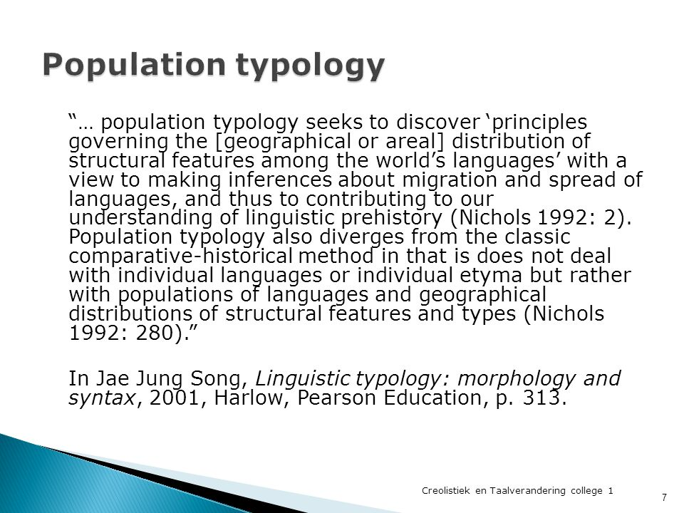 Population typology