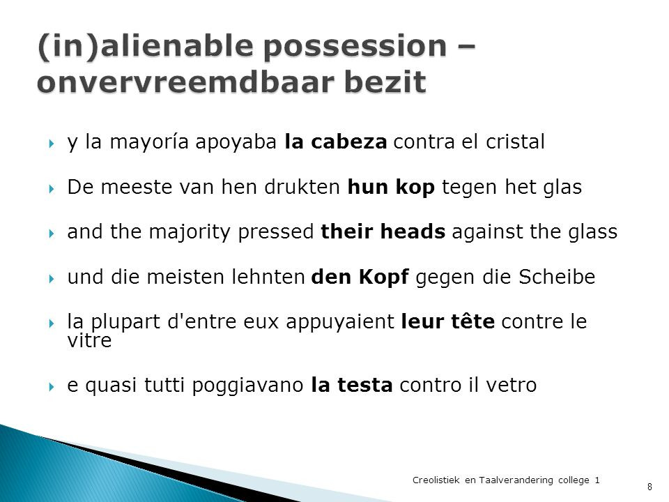 (in)alienable possession – onvervreemdbaar bezit