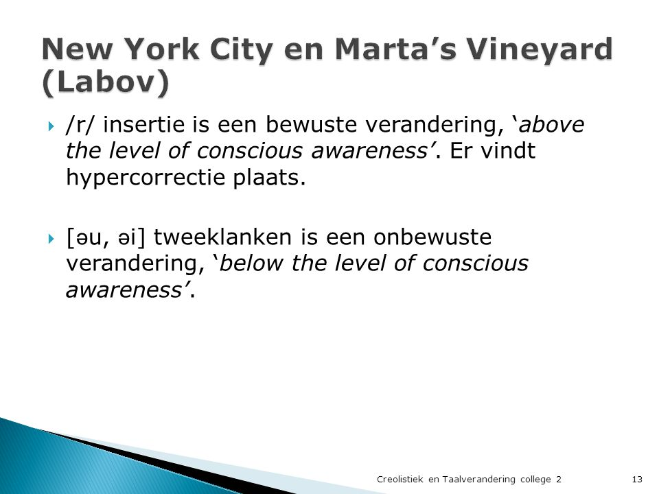 New York City en Marta's Vineyard (Labov)