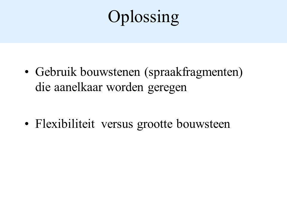 Oplossing Gebruik bouwstenen (spraakfragmenten) die aanelkaar worden geregen.