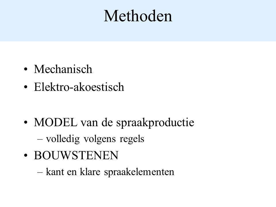 Methoden Mechanisch Elektro-akoestisch MODEL van de spraakproductie