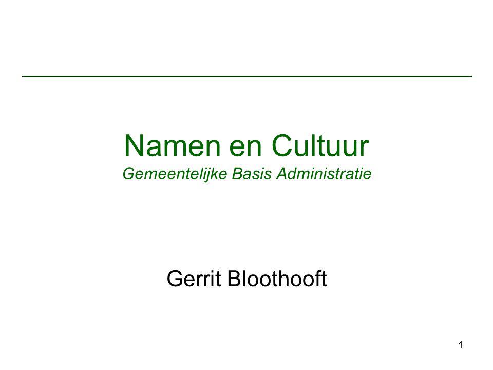 Namen en Cultuur Gemeentelijke Basis Administratie