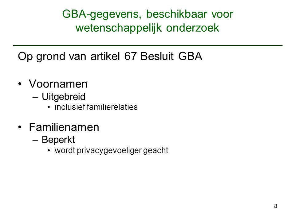 GBA-gegevens, beschikbaar voor wetenschappelijk onderzoek