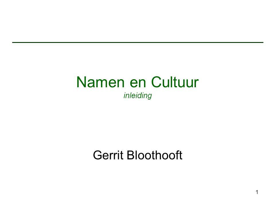 Namen en Cultuur inleiding