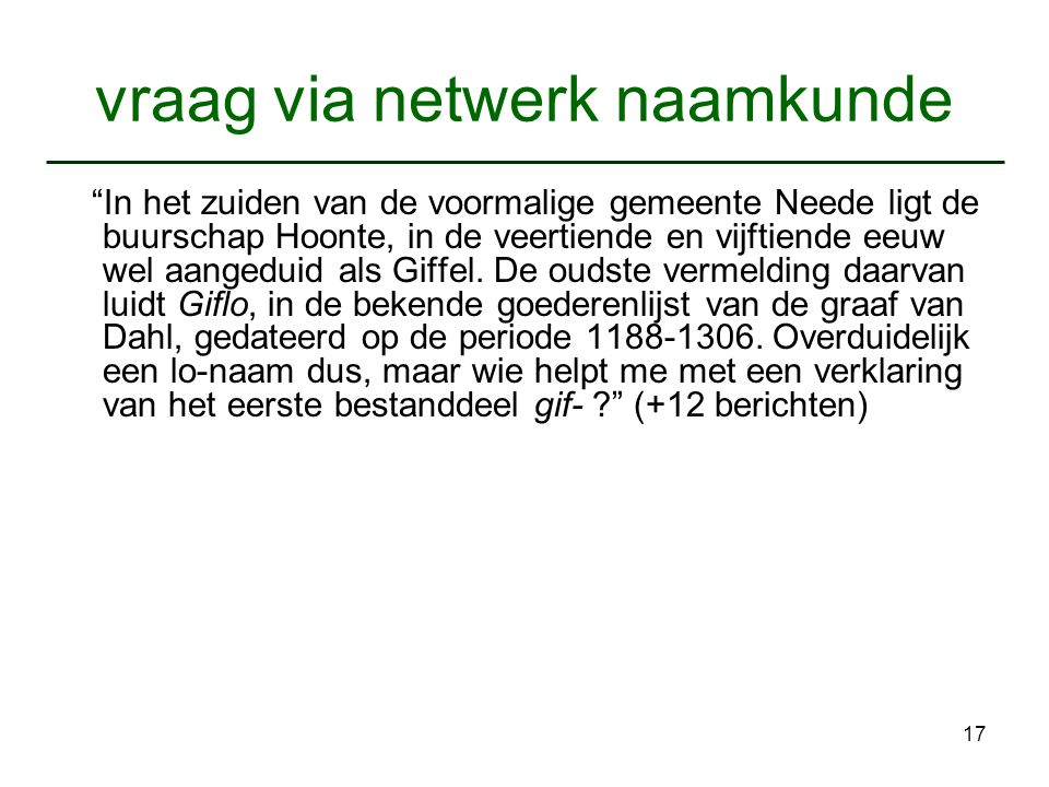 vraag via netwerk naamkunde