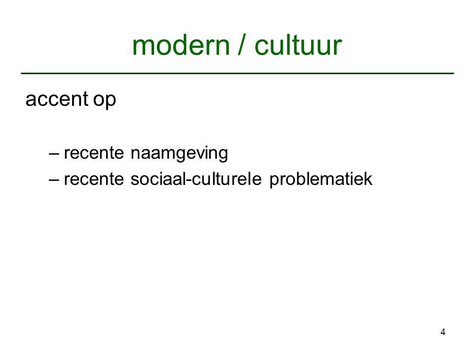 modern / cultuur accent op recente naamgeving