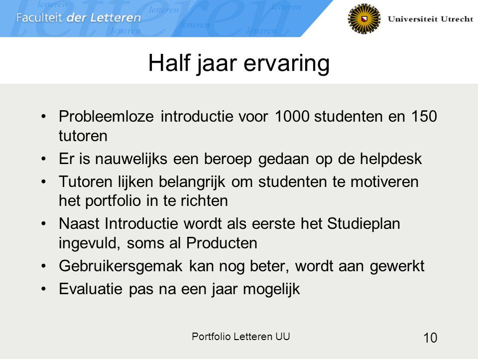 Half jaar ervaring Probleemloze introductie voor 1000 studenten en 150 tutoren. Er is nauwelijks een beroep gedaan op de helpdesk.