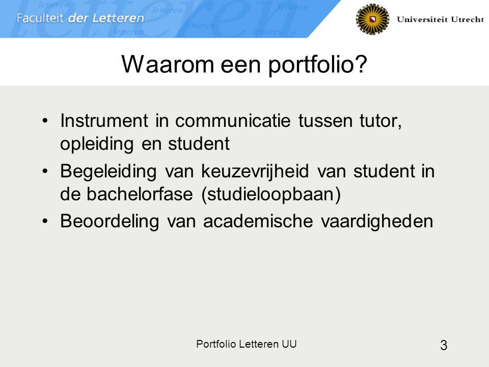 Waarom een portfolio Instrument in communicatie tussen tutor, opleiding en student.