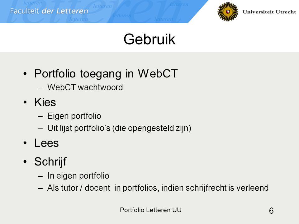 Gebruik Portfolio toegang in WebCT Kies Lees Schrijf WebCT wachtwoord