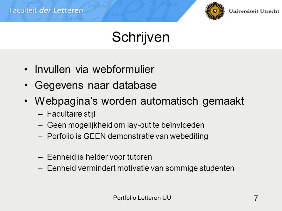 Schrijven Invullen via webformulier Gegevens naar database