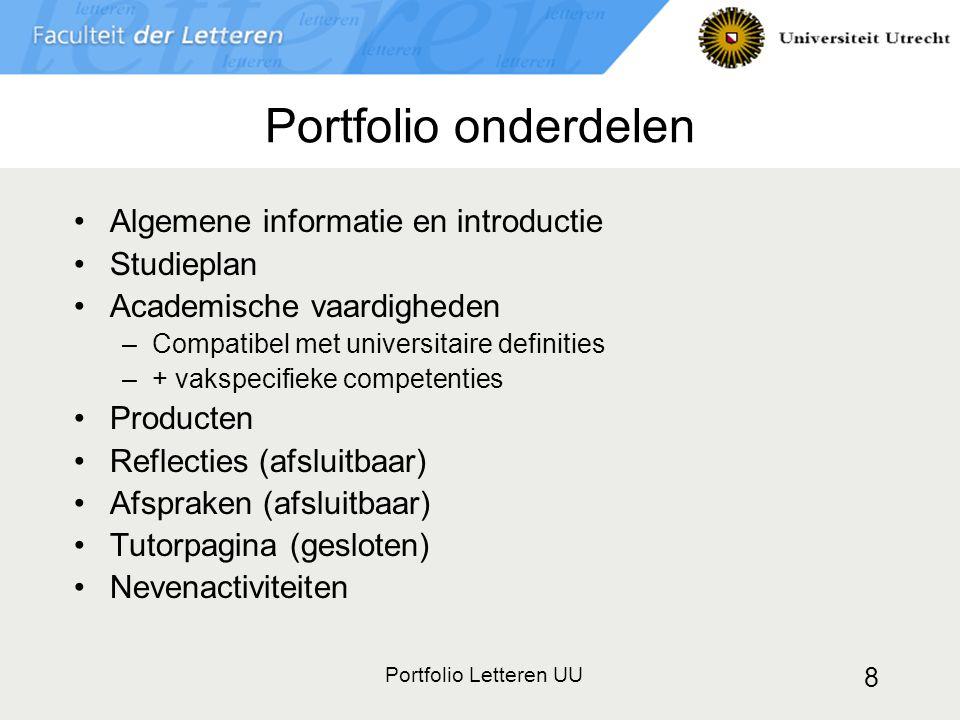 Portfolio onderdelen Algemene informatie en introductie Studieplan