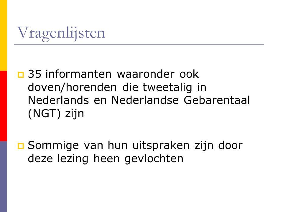 Vragenlijsten 35 informanten waaronder ook doven/horenden die tweetalig in Nederlands en Nederlandse Gebarentaal (NGT) zijn.
