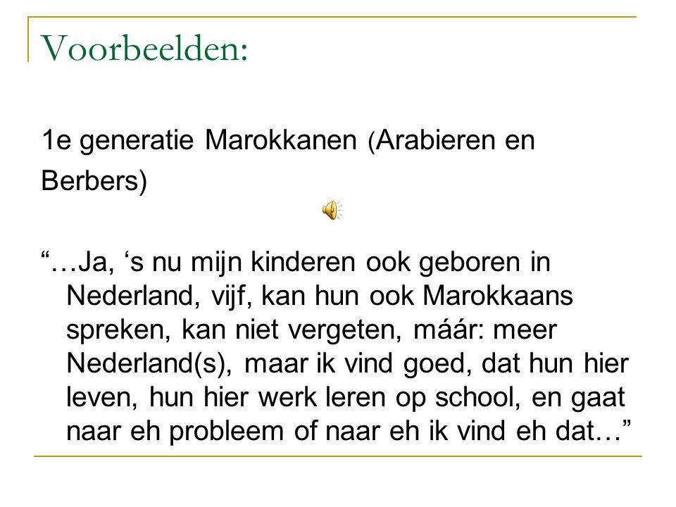 Voorbeelden: 1e generatie Marokkanen (Arabieren en Berbers)