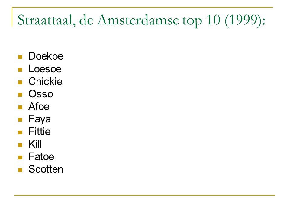 Straattaal, de Amsterdamse top 10 (1999):