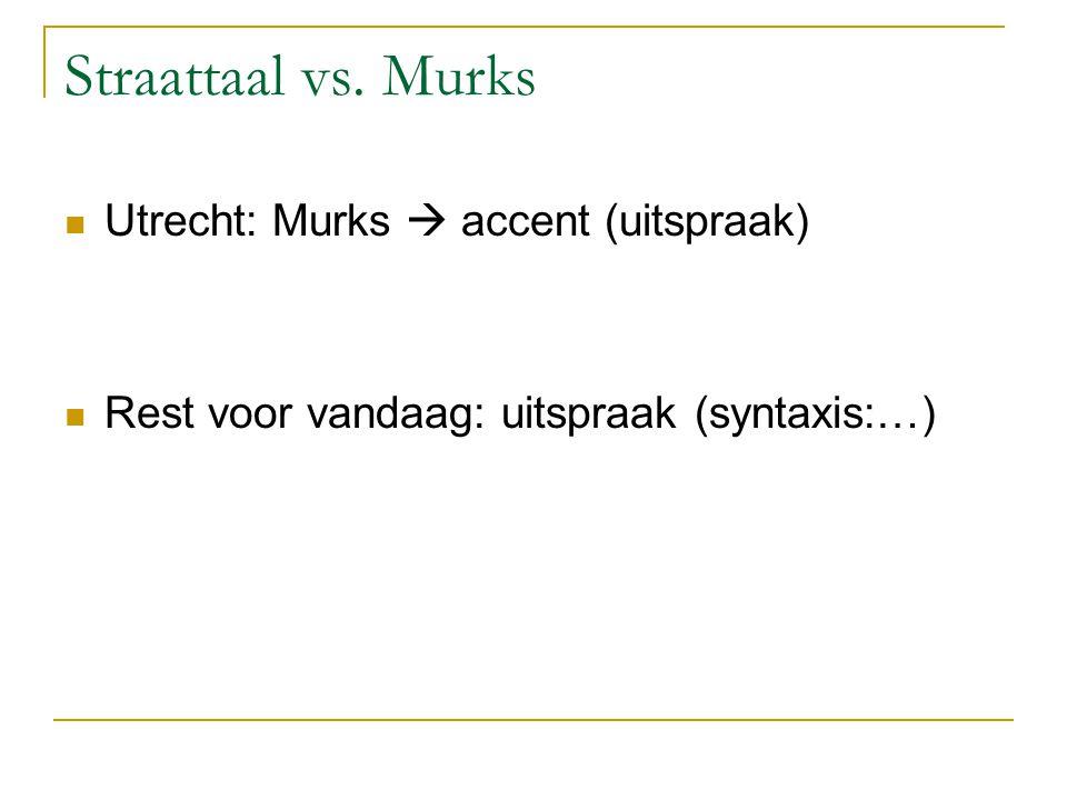 Straattaal vs. Murks Utrecht: Murks  accent (uitspraak)