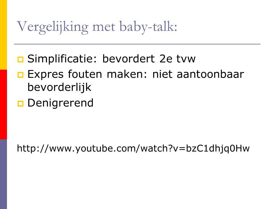 Vergelijking met baby-talk: