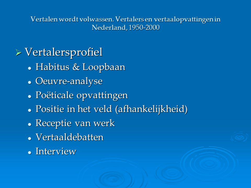 Vertalersprofiel Habitus & Loopbaan Oeuvre-analyse