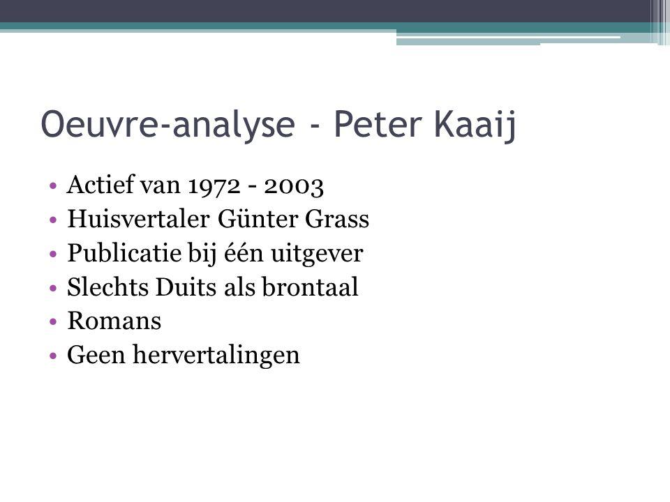 Oeuvre-analyse - Peter Kaaij