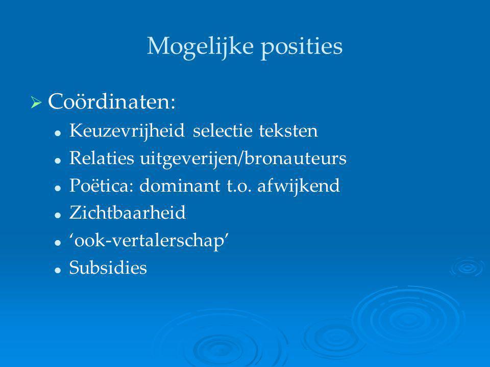 Mogelijke posities Coördinaten: Keuzevrijheid selectie teksten