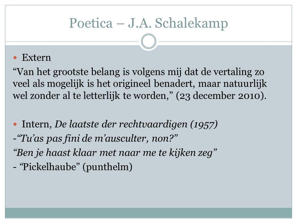 Poetica – J.A. Schalekamp