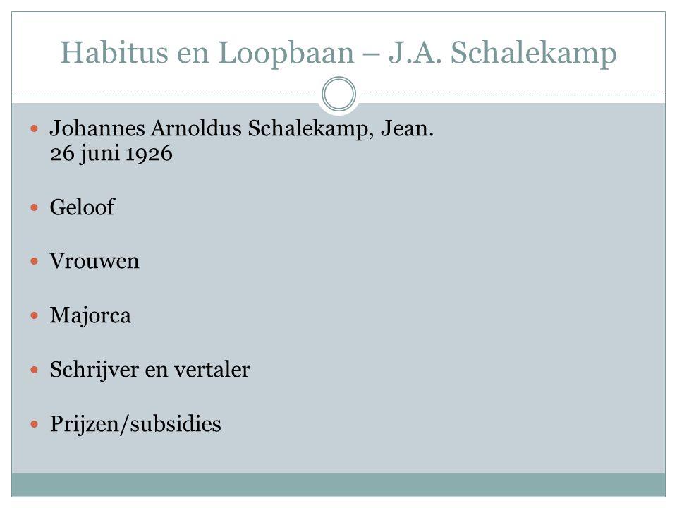 Habitus en Loopbaan – J.A. Schalekamp