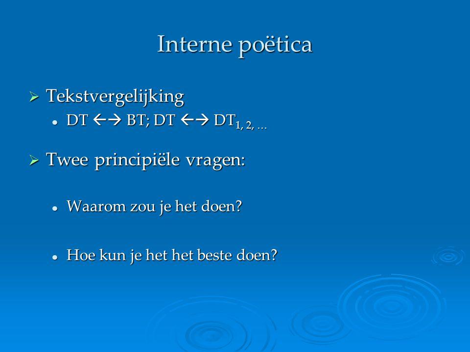 Interne poëtica Tekstvergelijking Twee principiële vragen:
