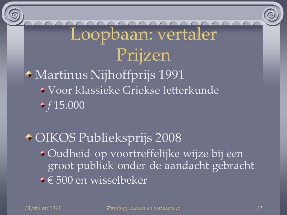 Loopbaan: vertaler Prijzen