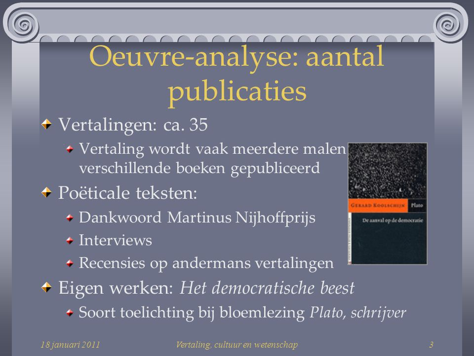 Oeuvre-analyse: aantal publicaties