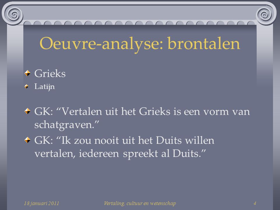 Oeuvre-analyse: brontalen