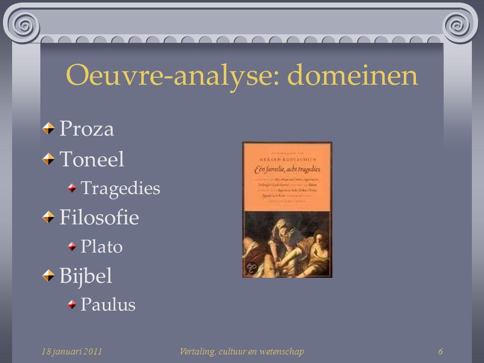 Oeuvre-analyse: domeinen