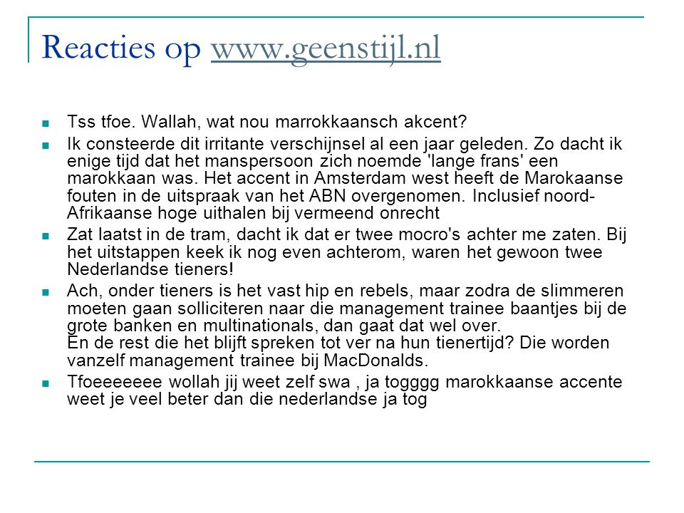 Reacties op www.geenstijl.nl